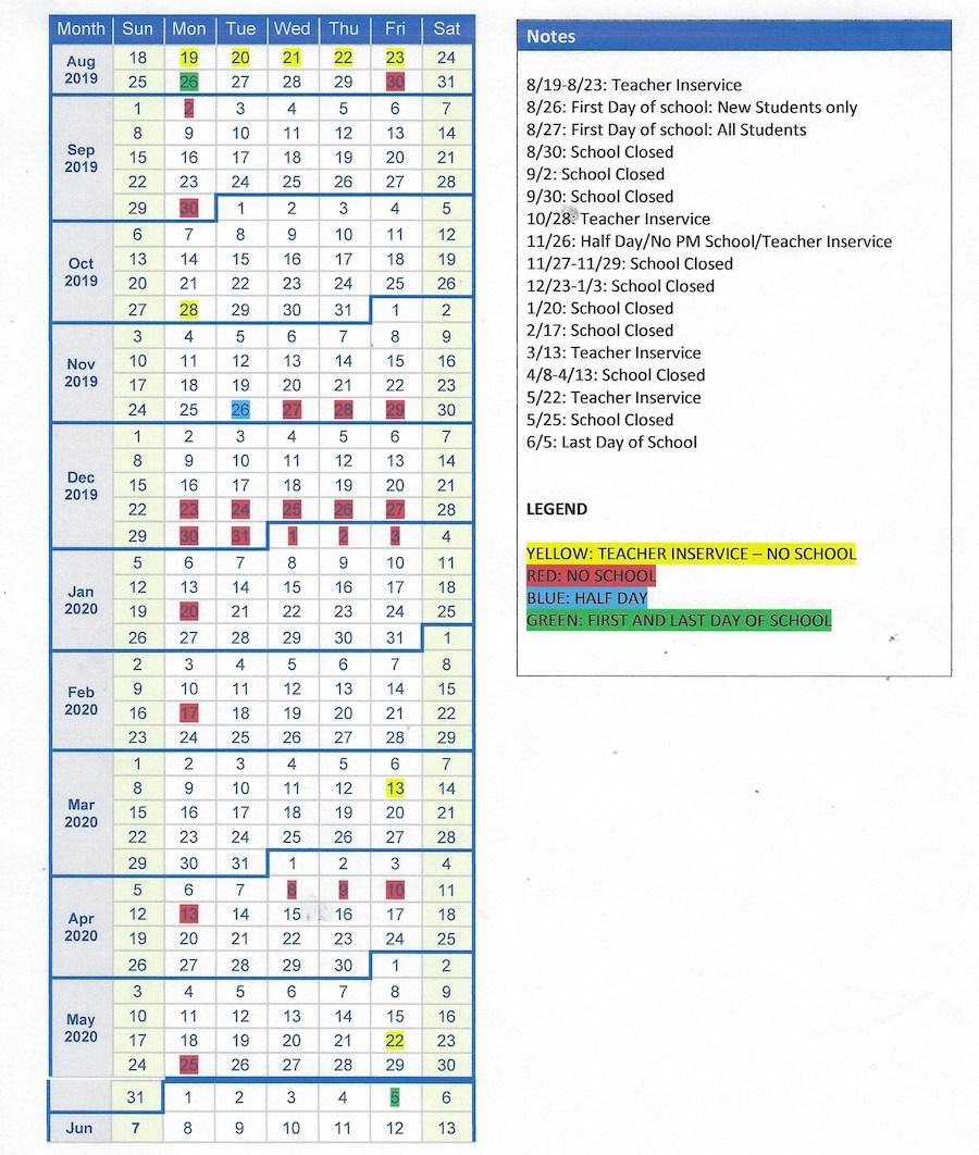 Whiteland Montessori School 2020 calendar